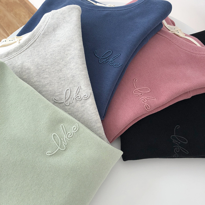 Letter Embroidery Woman Sweatshirts O Neck Loose Casual Female 2019 Autumn Pullovers