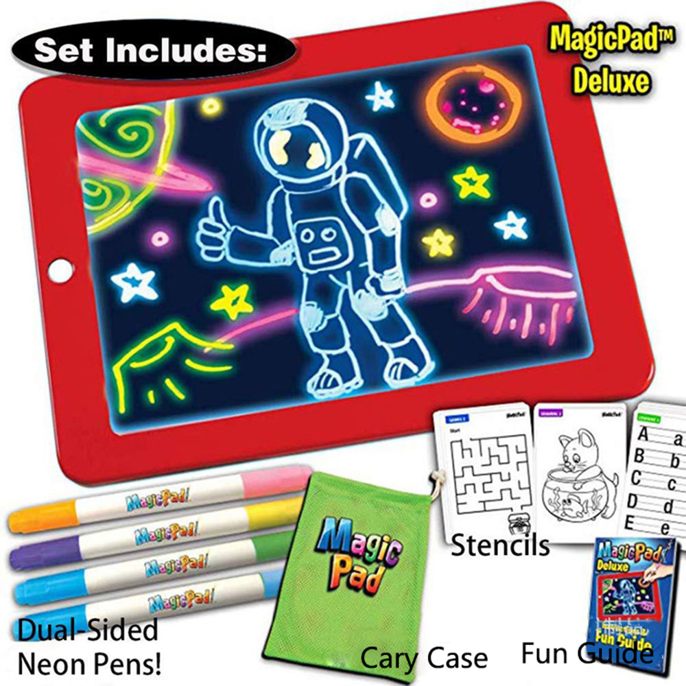 3D Magic Drawing Pad Board Creative Kids Pen LED Multi-function Sketchpad Writing Board Lights Glow Art Drawing Educational Toys