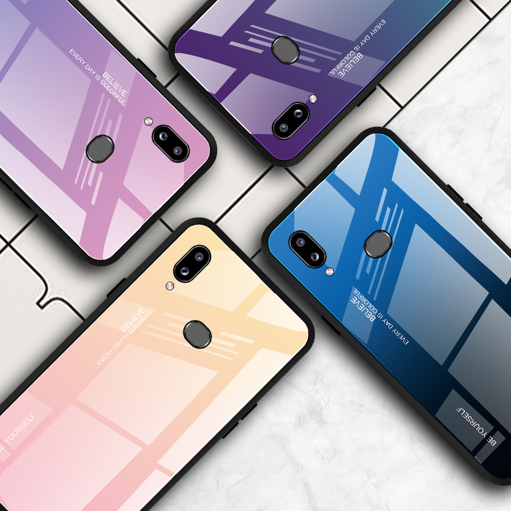 Gradient Glass Phone <font><b>Case</b></font> For <font><b>Samsung</b></font> A10S A 10 S A 10S <font><b>A10</b></font> S SM-A107F <font><b>Case</b></font> Fashion Coque Samsun <font><b>A10</b></font> A10S Capa Hard <font><b>Cases</b></font> Fundas image
