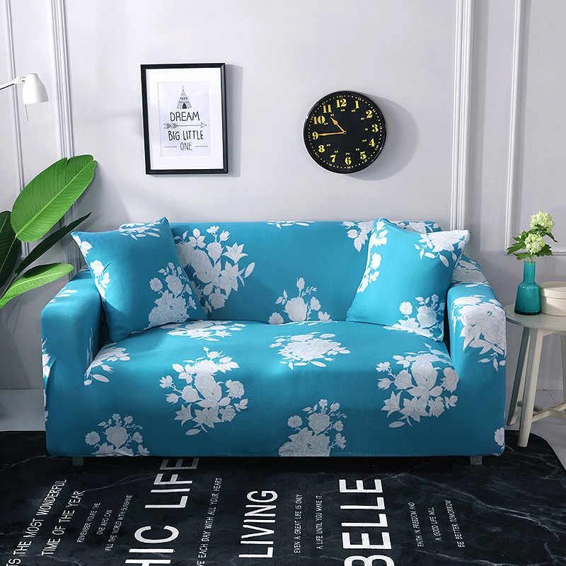 HS 49 plazas sofá moderno cubierta Spandex Poliéster elástico Floral funda de sofá silla Esquina de salón fundas de sofá