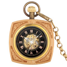 Chic No Cover Square Bamboo Automatic Mechanical Pocket Watch Digital Black Dial Alloy Pendant Necklace Best Gift For Man Women