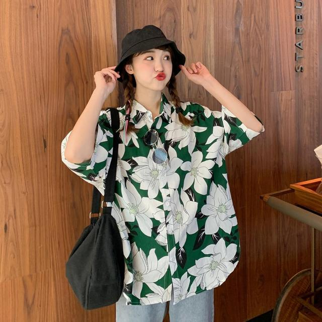 2020 Summer Women Tops and Blouses Fashion Loose Women Shirts Half Sleeve Women Flowers Blouses Print baggy Female Tops Shirts