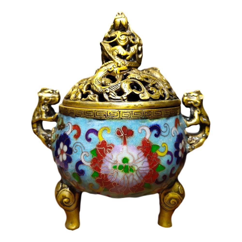 LaoJunLu старая тибетская чистая медная перегородчатая эмаль ручной работы филигранная эмаль цвет Дракон два уха трехногая пластина крышка др