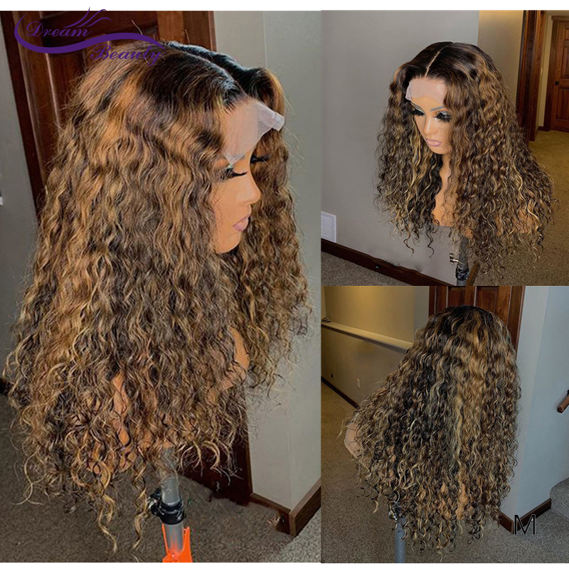 13X6 Balayage Color Lace Front Human Hair Wigs 180Density Meddle Ratio Curly Lace Wig For Women
