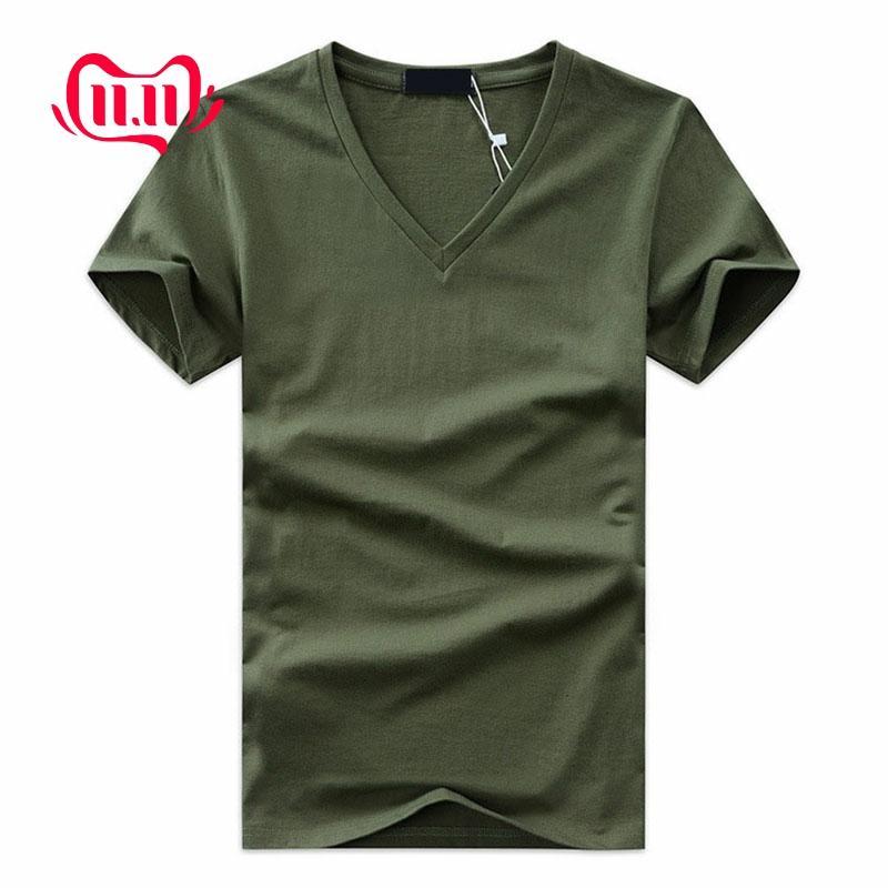 2019 High Quality Fashion Summer Men V Neck Tshirt Cotton Short Sleeve Tops Casual Men Slim Fit Classic Brand Tshirt 5XL TX-113