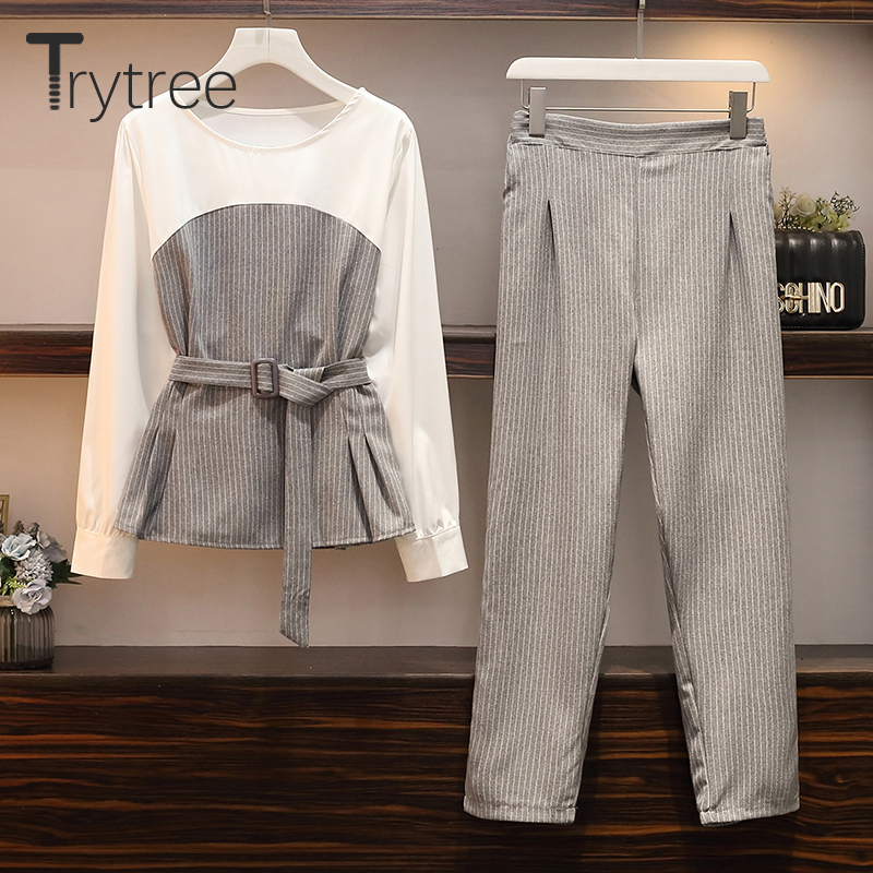 Trytree Autumn Women Two Piece Set Casual O-Neck Belt Splice Striped Tops + Pants Elastic Waist Office Lady Suit 2 Piece Set