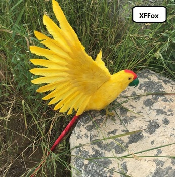 big new simulation yellow parrot model foam&furs wings parrot bird doll gift about 40x60cm xf2420