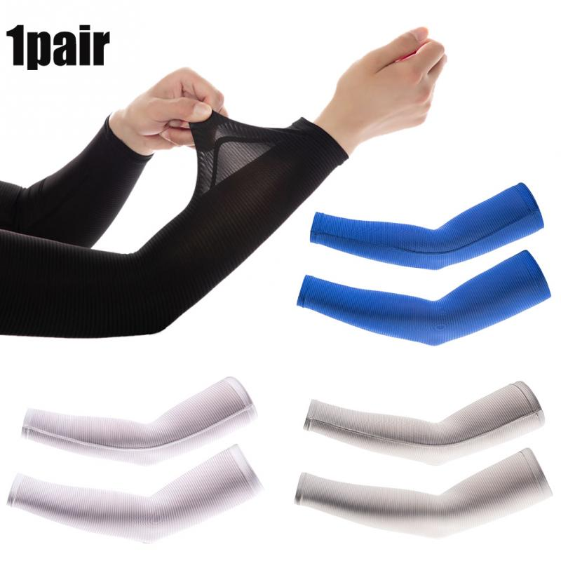1pair Running Long Cuff Cycling Arm Sleeve Fashion Summer Cooling UV Protection Outdoor Sports Hiking Elastic Ice Silk Cover