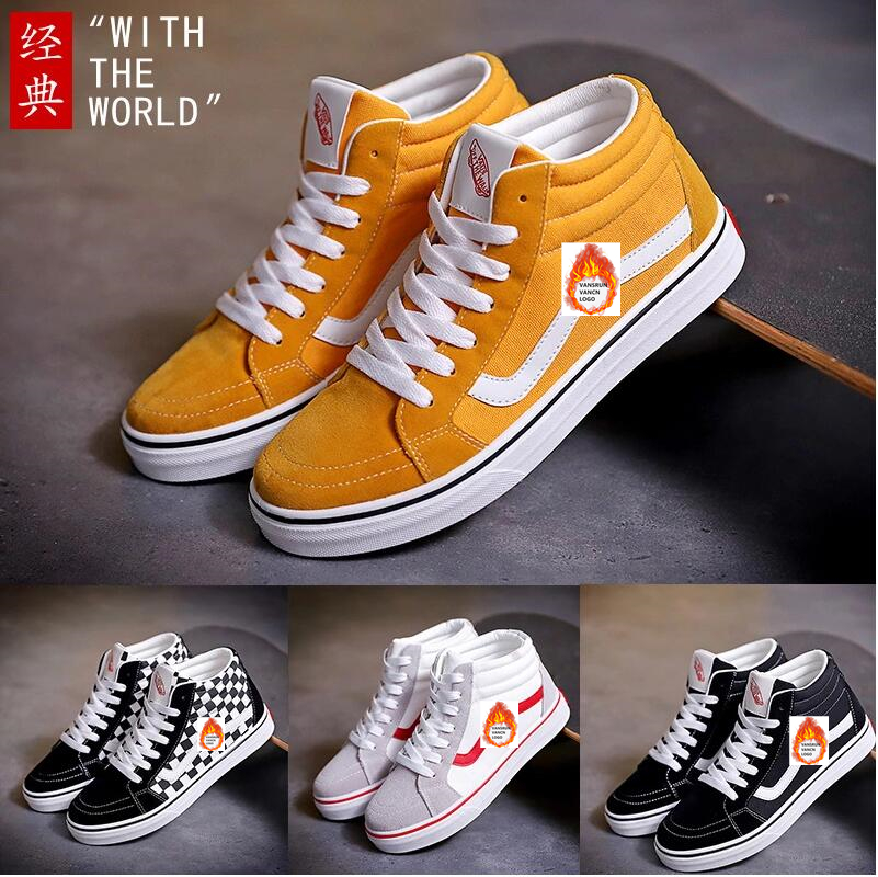 TRILEINO Canvas Shoes Sneakers Skateboarding-Shoes High-Top Mid-Sk8-Classics Yellow Old-Skools-Vulcanized title=