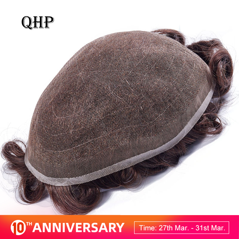 Full Lace Men Toupee Remy Indian Hair Replacement System 8x10 Inches Human French Lace Super Hairpieces Wig Handmade