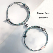 Couple Bracelets Jewelry Magnetic Stainless-Steel Custom Name Chain Braided-Rope Metal