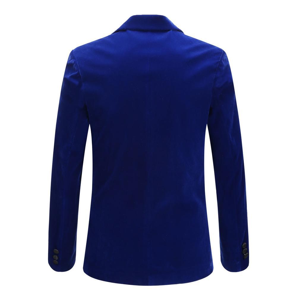 Men's Autumn Winter Velvet Wine Red Fashion Leisure Suit Jacket Wedding Groom Singer Slim Fit Blazer