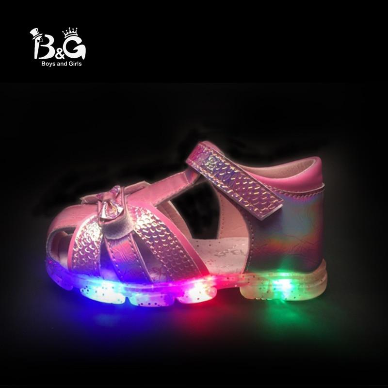 B&G Led Light Girl Princess Children Sandles Soft Kids Shoes Breathable Antislip Girls Dancing Shoes