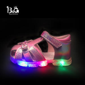 B&G Led Light Girl Princess Children Sandles Soft Kids Shoes Breathable Antislip Girls Dancing Shoes