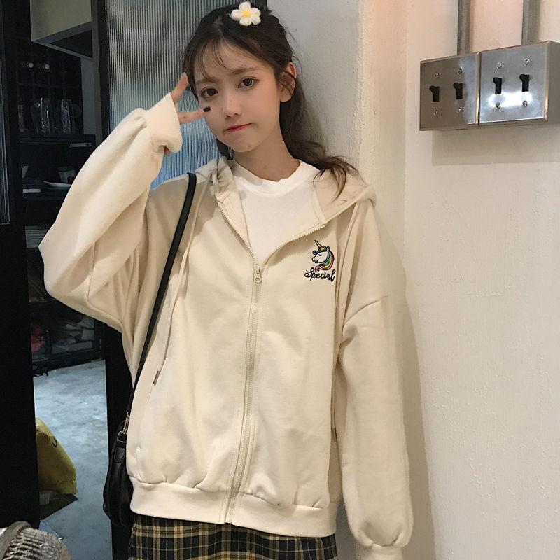 Harajuku with hat hoodies women zipper kangaroo pocket casual loose solid color sweatshirt female 2020 fashion new female tops 20