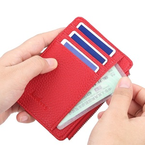 Fashion Men/Women Mini ID Card Holders Business Credit Card Holder PU Leather Slim Bank Card Case Organizer Wallet Zipper(China)