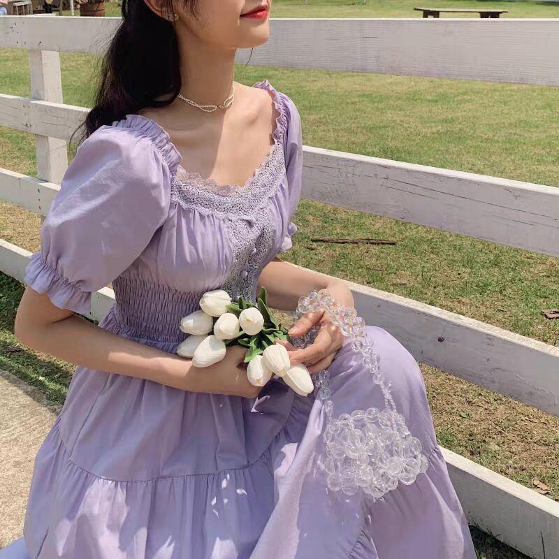 Bella Philosophy 2021 Purple Elegant Lace Long Maxi Dress Vintage Square Collar Female Franch Dress Casual Holiday Lady Vestidos