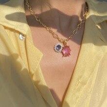 MENGJIQIAO collana girocollo in cristallo quadrato colorato di moda coreana per gioielli da donna con pendenti a catena in metallo Vintage da donna