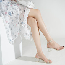 Women High-heeled Open-toed Sexy Sandals High-heeled Shoes Transparent One- character Buckle 2020 Chic Thick Female Chunky Heel