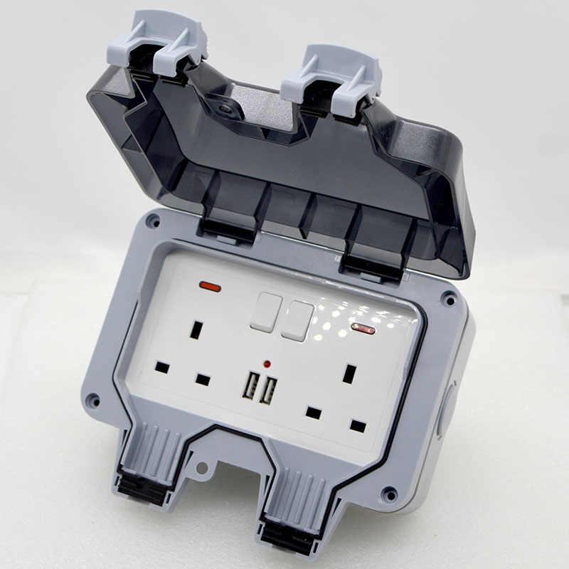1 шт. Новый наружный водонепроницаемый USB розетка коробка два положения настенная вилка Великобритания, ЕС, FR, стандартный стиль 250V 13A блок питания Джек специальный