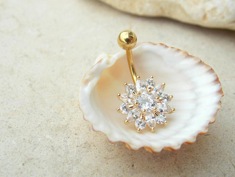 Hc78d2c13f0494861b0ffe3df34dece00B Navel Piercing Body Jewelry Crystal Flower Belly Button Ring