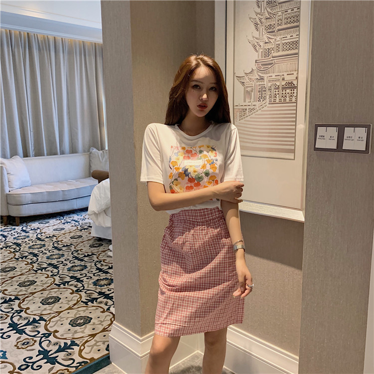 2019 Summer Wear New Style WOMEN'S Dress Korean-style Two-Piece Printed Plaid Set