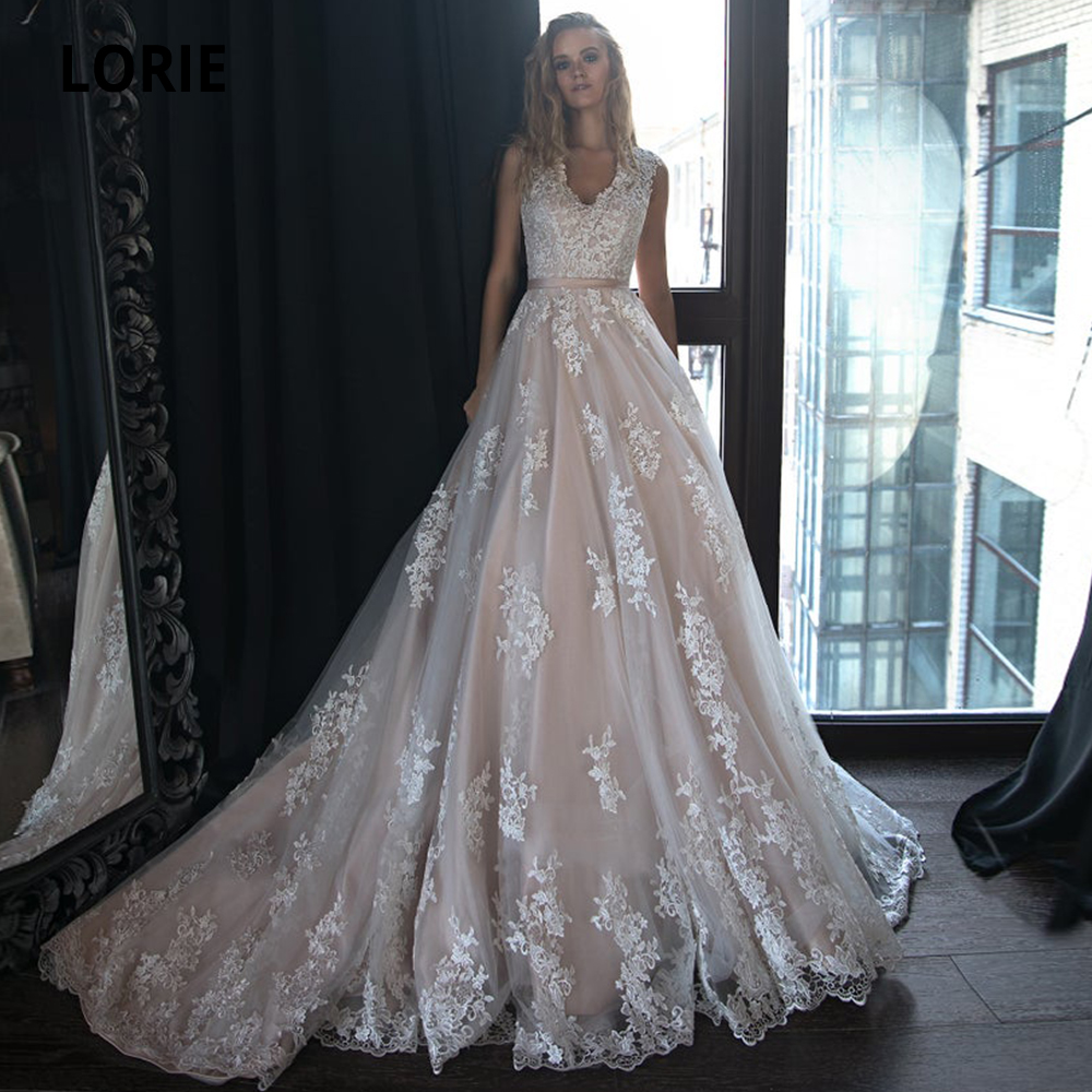 LORIE Lace Wedding Dresses Boho 2019 Sleeveless Champagne Bridal Gowns Tulle Appliqued A-line Beach Wedding Gowns Long Train