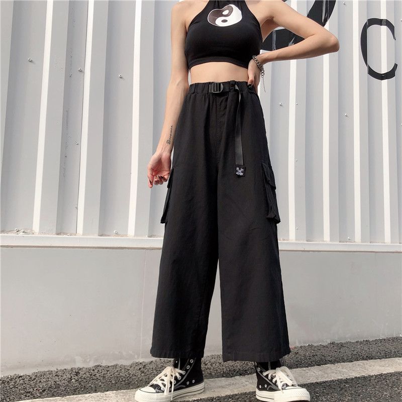 Women's high waist   wide     leg     pants   ins Harajuku style wild loose student cargo   pants   straight high waist casual   pants   GD035