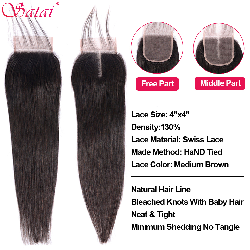 Image 4 - SATAI Straight Hair Human Hair Bundles with Closure Mongolian Hair 3 Bundles With Closure Natural Color Non Remy Hair Extension-in 3/4 Bundles with Closure from Hair Extensions & Wigs