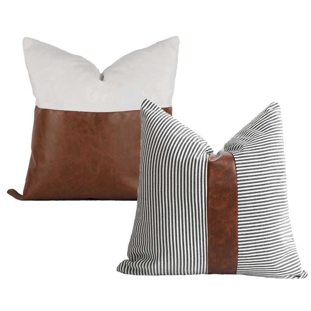 1 PACK Retro Faux PU Leather Cushion Cover Throw Pillow Case Sofa Bed Home Decor