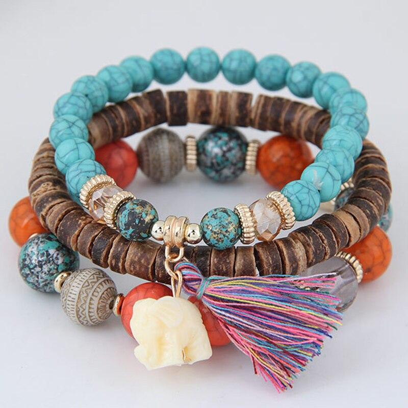 3 pçs/set Bohemian Moda Pulseiras Pulseiras para Mulheres Turq Azul Colorido Jóia de Coco Shell Beads Long Beach Pulseira Jóias