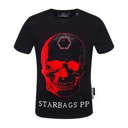 Starbags PP originale a maniche corte da uomo T-Shirt collare rotondo domineer di personalità di alta qualità calda del cranio del diamante di Nuovi prodotti