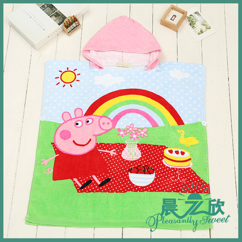 Cartoon Wearable Bath Towel Cloak Cotton Children Beach Towel Activity Printed Piggy  BABY'S BLANKET Hooded Mantle