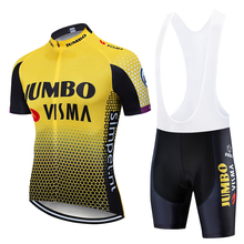 цена на 2020 Pro team jumbo visma cycling jersey set mens bicycle maillot MTB Racing ropa Ciclismo summer quick dry bike cloth 19D GEL
