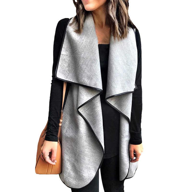 Осень 2019, женский жилет, Открытый спереди, кардиган, жилет, без рукавов, драпированный воротник, пальто, повседневная куртка, Женская Корейская уличная одежда серого цвета