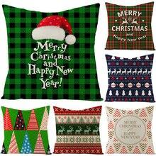 Плед Рождественская наволочка льняная декоративная Подушка для