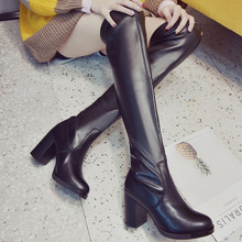 Women High Boots Over The Knee Boots Women Shoes Leather Ankle Boots Knee High Boots Sexy Ladies High Heels Boots Female A1672 cheap YUYAN HAPPY HOUR Microfiber Over-the-Knee Slip-On Solid Fits true to size take your normal size Round Toe Winter Square heel