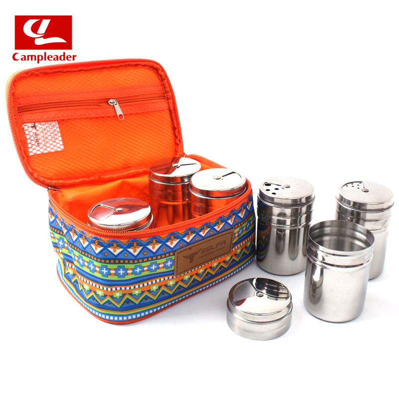 Outdoor National Style Camping Storgage Bag 201 Stainless Steel Spice Jar Non-Magnetic Stainless Steel Seasoning Box Set