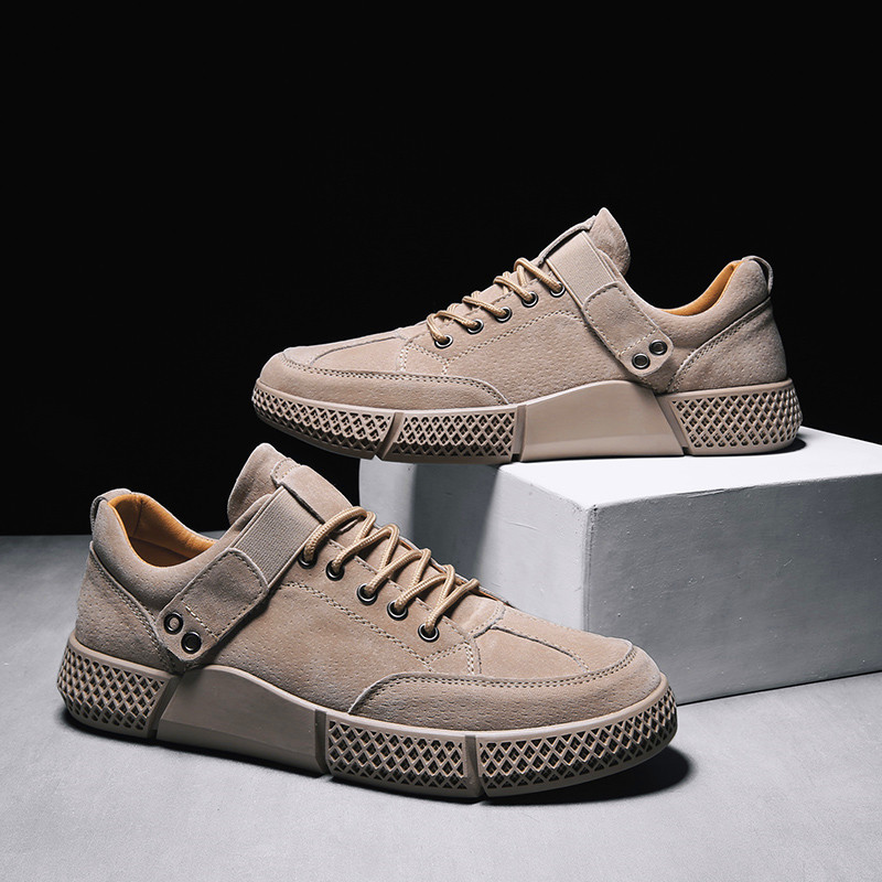2019 New Men's Shoes Student Shoes Men's Casual Shoes Breathable Youth Trend Wear-resistant Rubber Sole Leather Casual Shoes