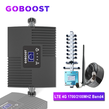 GOBOOST Cellular Amplifier 4g LTE AWS 1700 2100 Mhz Cellular Signal Booster Mobile Phone Booster Band 4 Internet 4g Repeater Kit