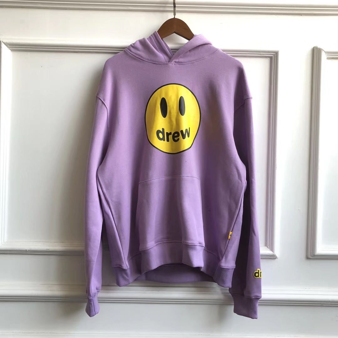 2019FW Drew House Solid Color Hoodies Men Women Couples Drew Smile Face Printed Embroidery Justin Bieber Hoody Sweatshirts Men