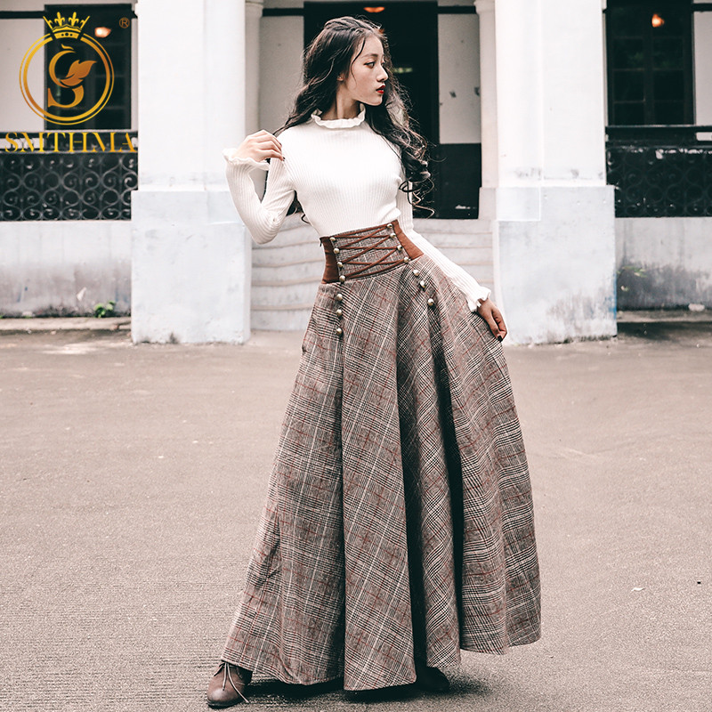 SMTHMA New Fashion Winter Luxury Runway Elegant Knitted Two Piece Women Sets 2 Pieces White Sweater Lace-up High Waisted Maxi Skirt Matching Set