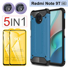 9D Glass & Case Note 9T Shockproof Case for Xiaomi Redmi Note 9T 5G Silicone Rugged Cover redmi note 9 pro note 9 t Armor Case
