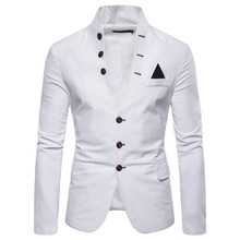 Suit Spring Buckle Decorative Mens Casual Collar Men White Blazer Blazers Suits Stage Jackets