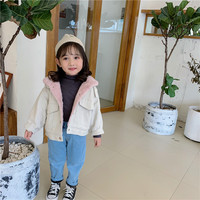 2019 Winter New Arrival Korean style cotton matching inside fut thickened and warm denim jacket for fashion baby girls and boys