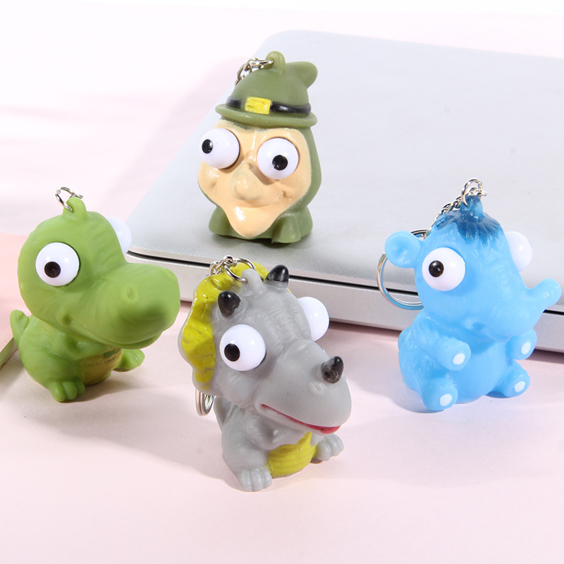 Children Soft Mini Animal Squeeze Toy Pop Out Eyes Doll Novelty Stress Relief Toy Keychain Joking Decompression Funny Toys