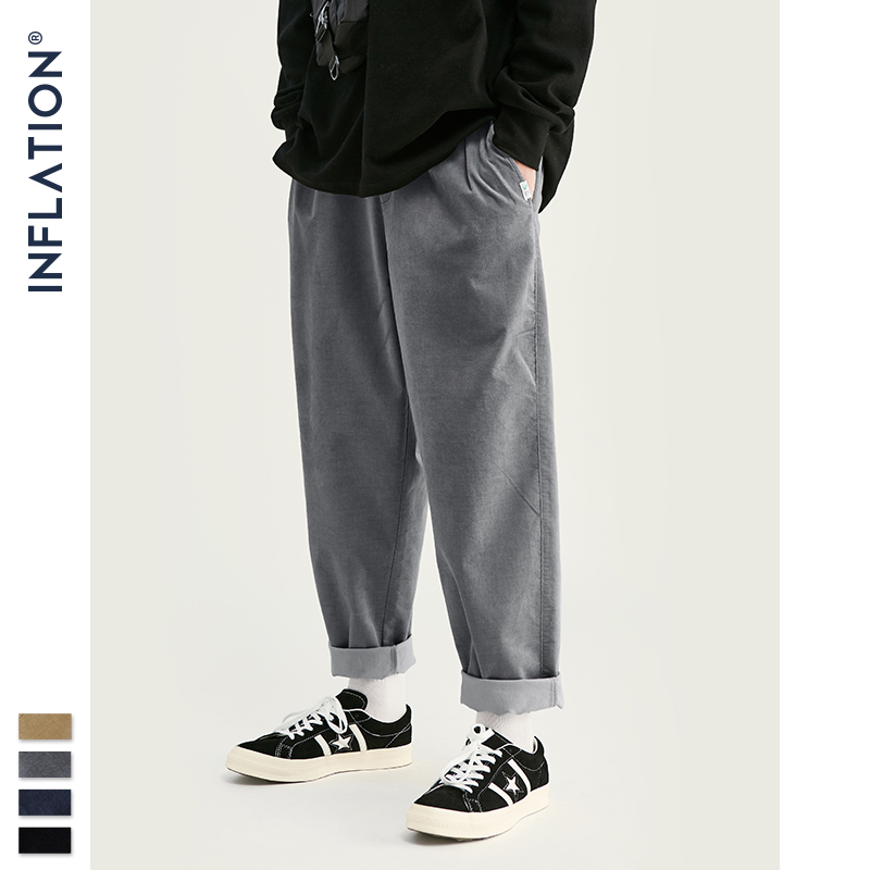 INFLATION 2019 Collection Wide Wale Men Corduroy Slacks Loose Fit Overalls Solid Color Men Corduroy Casual Street Pants 93326W