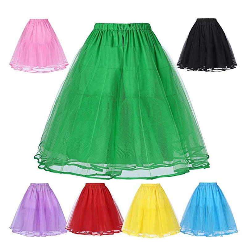 Summer ladies solid color tulle skirt petticoat slim sexy no hoop skirt ballet skirt  party club skirt organza size 32 to 58