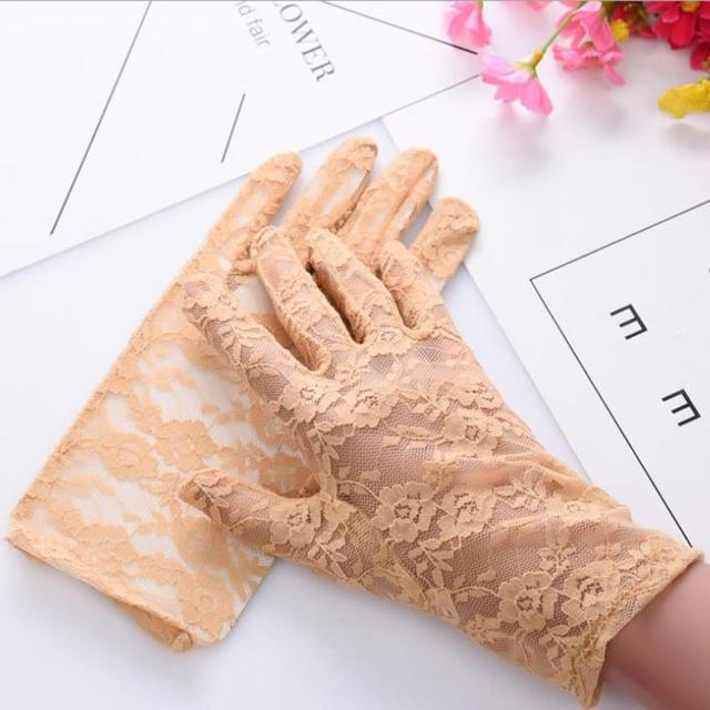 Fashion Women Lady Lace Party Sexy Dressy Gloves Summer Full Finger Sunscreen Gloves for Girls Mittens 2PCS 3
