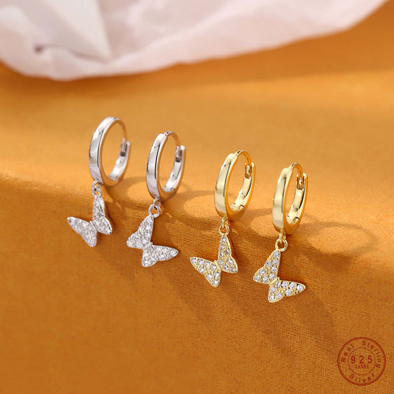 925 Sterling Silver Simple Butterfly Earrings Women Pavé Crystal Sparkling Temperament Nightclub Party Jewelry Friendship Gift